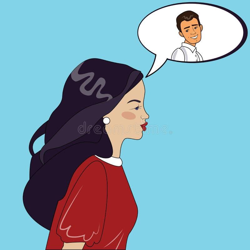 Bella donna che pensa all'uomo sorridente nell'illustrazione di vettore della nuvola di dialogo royalty illustrazione gratis