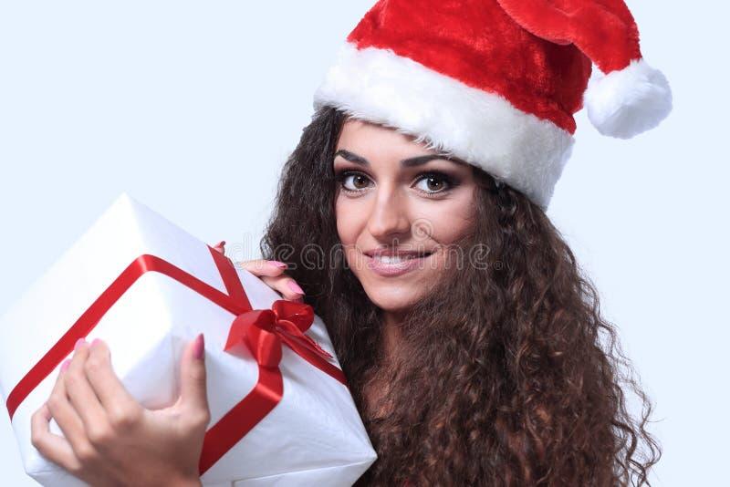 Bella donna che porta il costume di Santa Claus fotografie stock libere da diritti