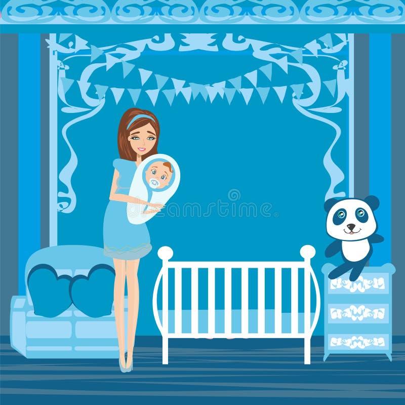 Bella donna che sorride con il bambino neonato illustrazione di stock