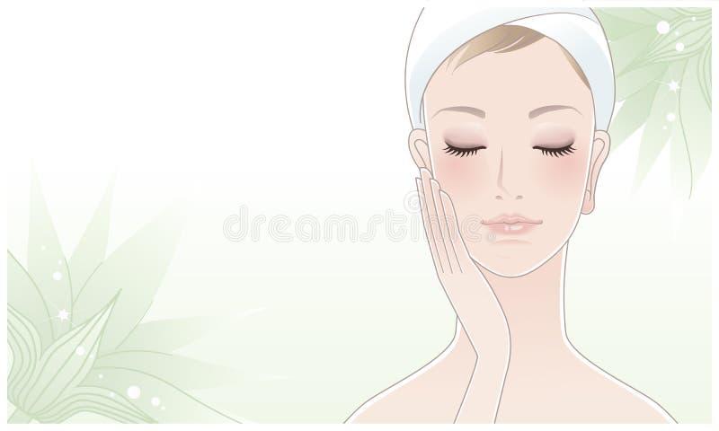 Bella donna che tocca il suo fronte sul fiore di loto illustrazione di stock