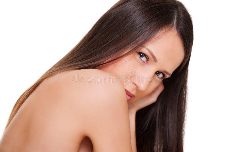 Bella donna con capelli lunghi diritti immagine stock libera da diritti