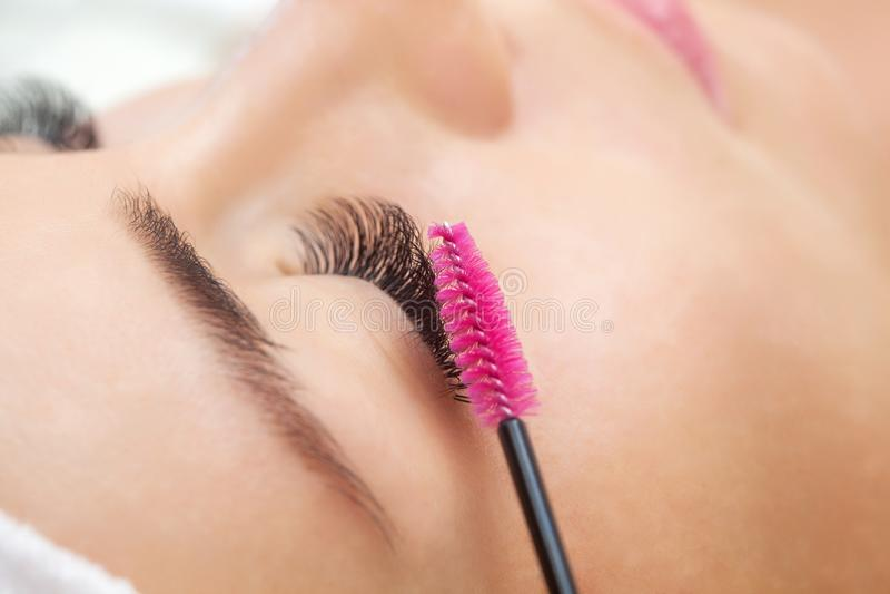 Bella donna con i cigli lunghi in un salone di bellezza fotografia stock