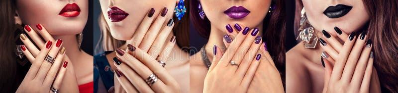 Bella donna con i gioielli d'uso del manicure porpora e di trucco perfetto fotografia stock