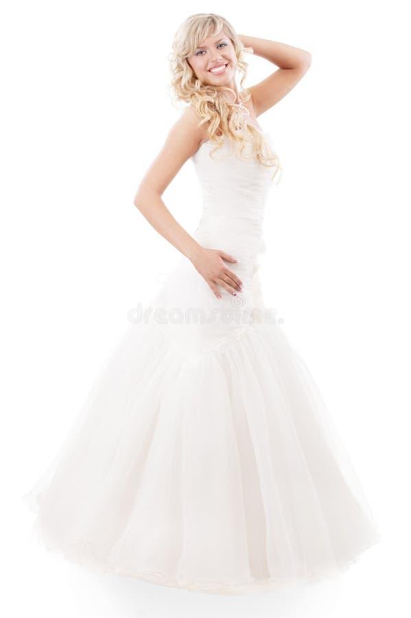 Bella donna con il vestito da cerimonia nuziale immagini stock libere da diritti