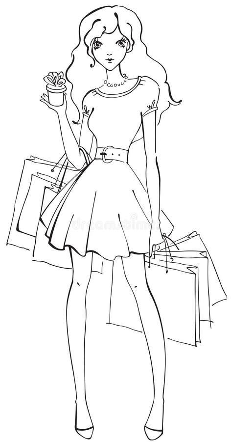 Bella donna con le borse di acquisto ed il piccolo regalo royalty illustrazione gratis