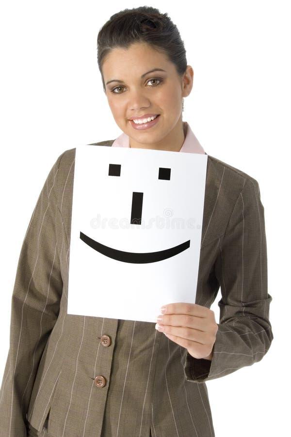 Bella donna con lo smiley immagini stock libere da diritti