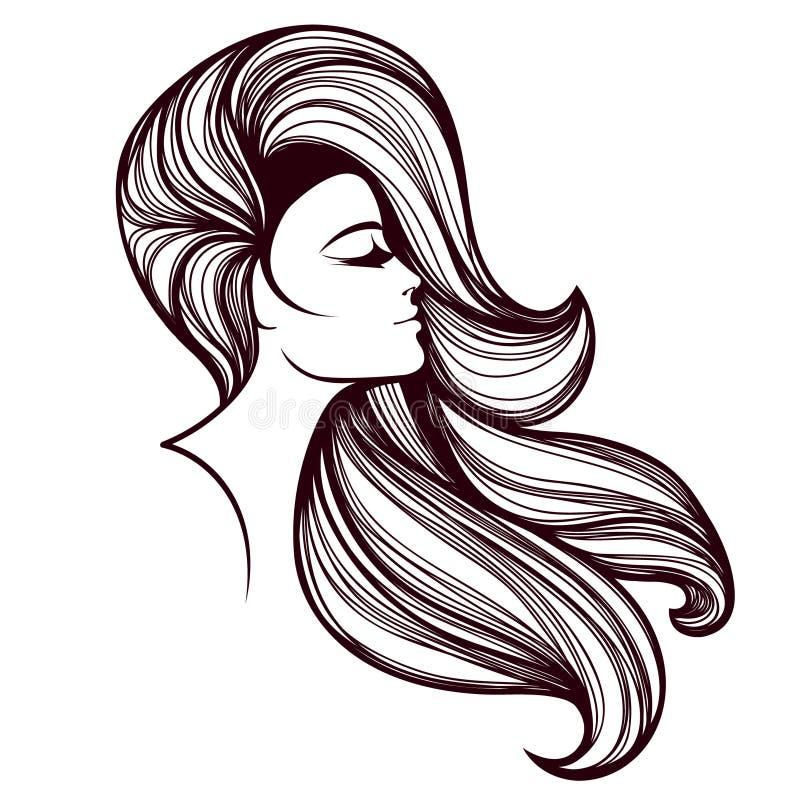 Bella donna con lungo, capelli ondulati e trucco audace, indossanti una fascia Capelli ed illustrazione di vettore del salone di  illustrazione vettoriale