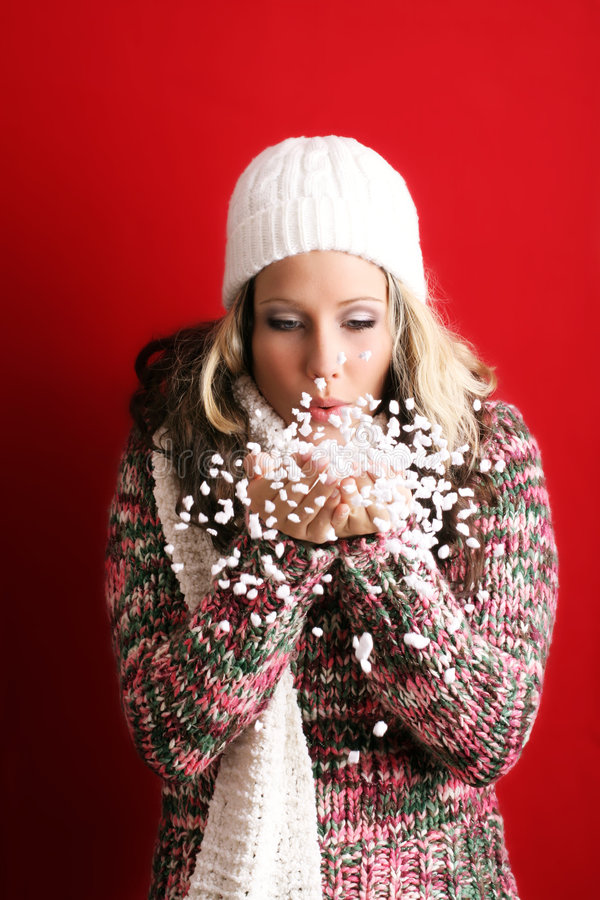 Bella donna con neve fotografia stock