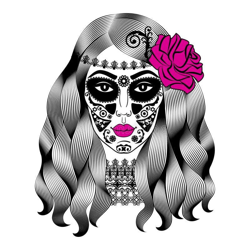 Bella donna con trucco del cranio dello zucchero Cranio di Catrina del messicano illustrazione di stock
