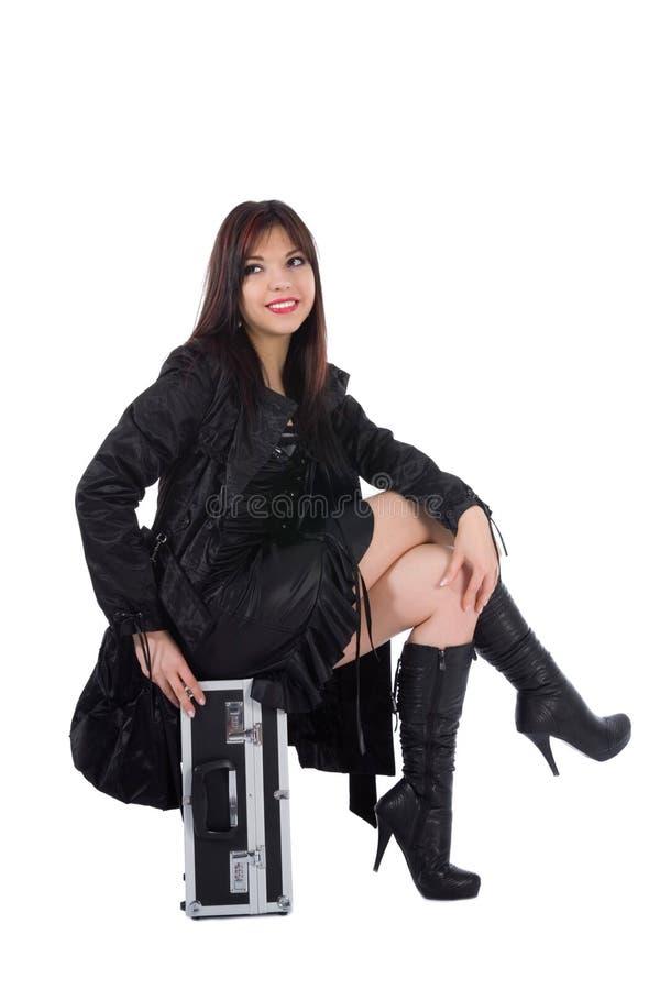 Bella donna con valise fotografie stock libere da diritti