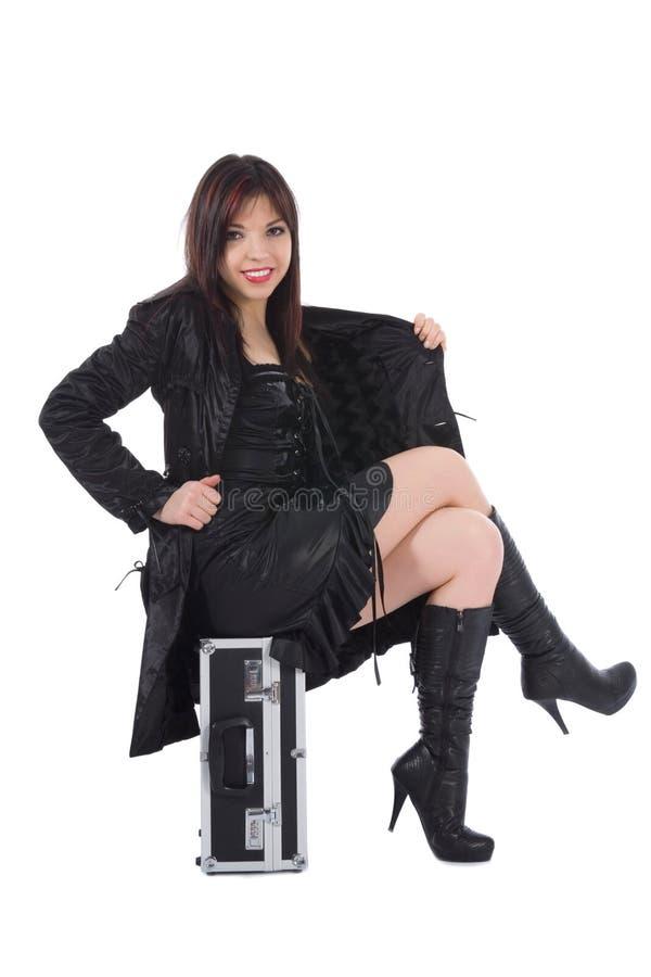 Bella donna con valise fotografia stock