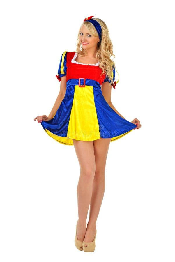 Bella donna in costume di travestimento. fotografia stock libera da diritti