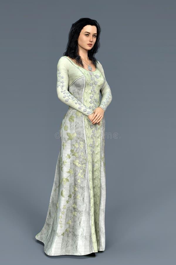 Bella donna 3D in un costume medievale con le sue mani afferrate insieme royalty illustrazione gratis