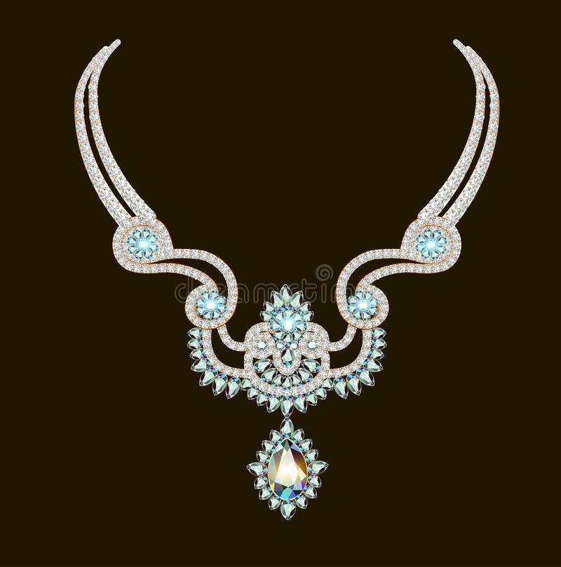 Bella donna della collana di vettore delle gemme brillanti royalty illustrazione gratis