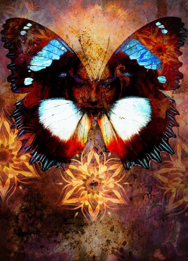 Bella donna della dea della pittura con la mandala ornamentale ed il fondo e l'uccello astratti di colore illustrazione vettoriale