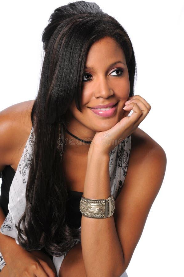 Bella donna di affari dell'afroamericano immagine stock