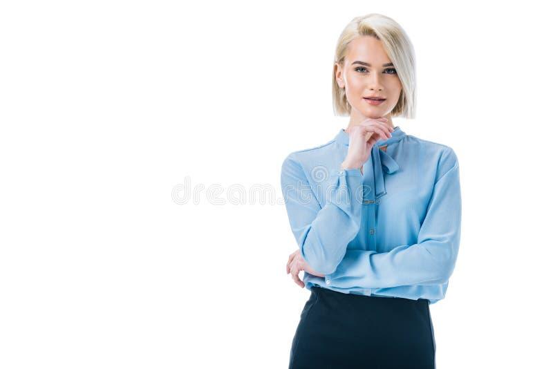 bella donna di affari premurosa che posa nell'usura convenzionale, immagine stock libera da diritti