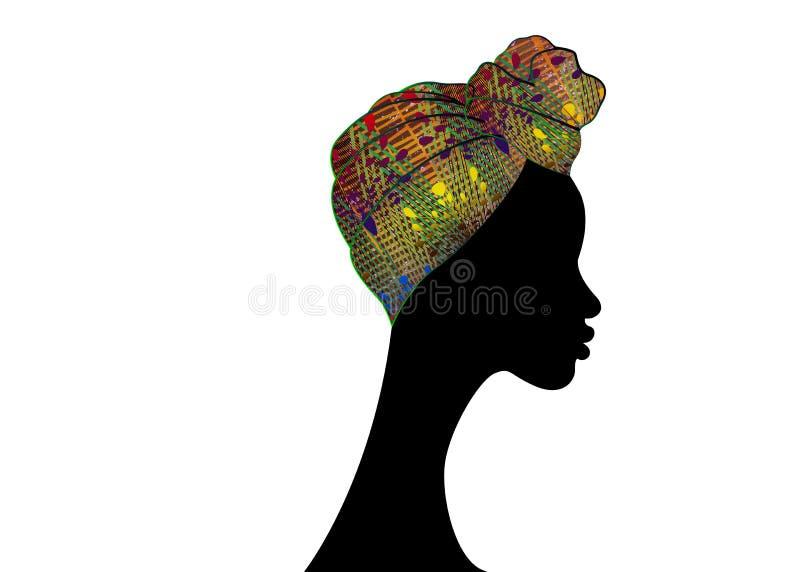 Bella donna di afro del ritratto Turbante tradizionale africano della sciarpa di Headtie delle donne del Headwrap di Shenbolen An illustrazione di stock