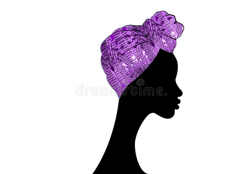 Bella donna di afro del ritratto Turbante tradizionale africano della sciarpa di Headtie delle donne del Headwrap di Shenbolen An illustrazione vettoriale