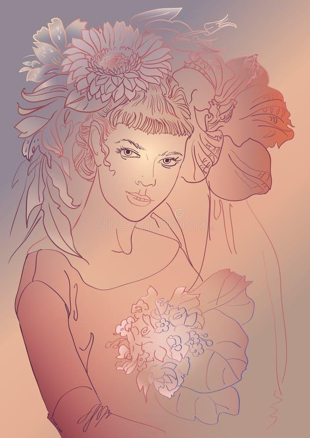 Bella donna di modo con i fiori royalty illustrazione gratis