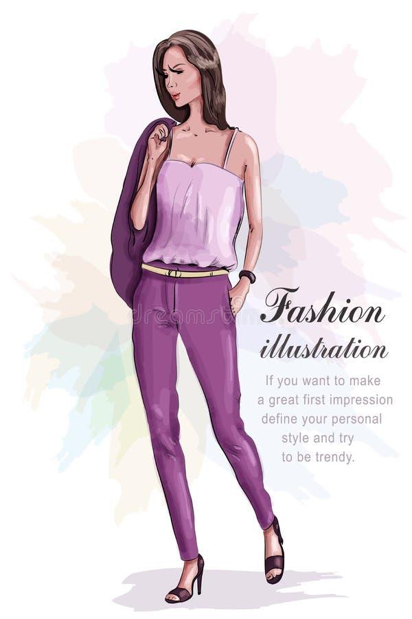 Bella donna di modo in vestito alla moda abbozzo illustrazione di stock