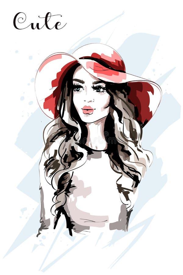 Bella donna disegnata a mano in cappello rosso Signora di modo Ritratto alla moda della giovane donna royalty illustrazione gratis