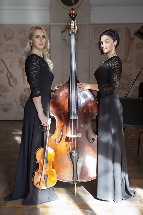 Bella donna due che gioca il violino fotografia stock