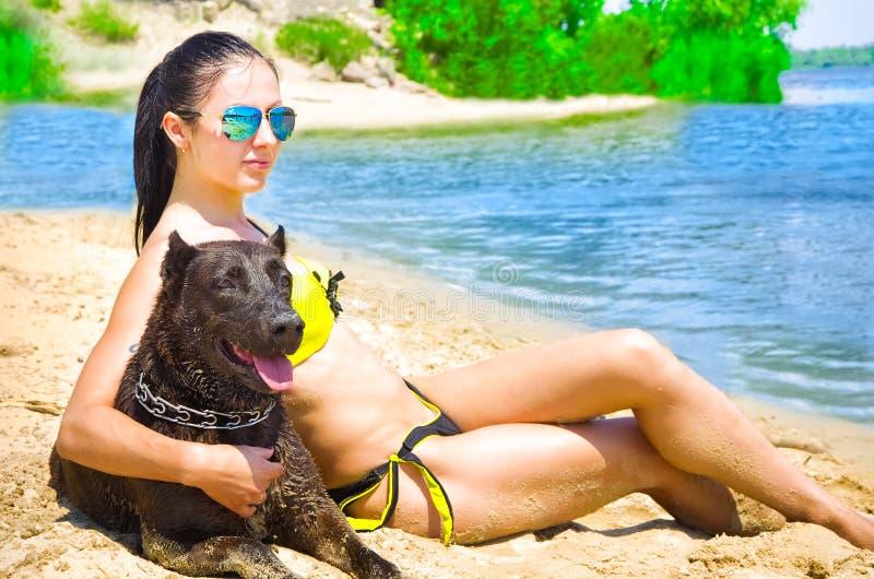 Bella donna e cane che si siedono sulla spiaggia immagine stock