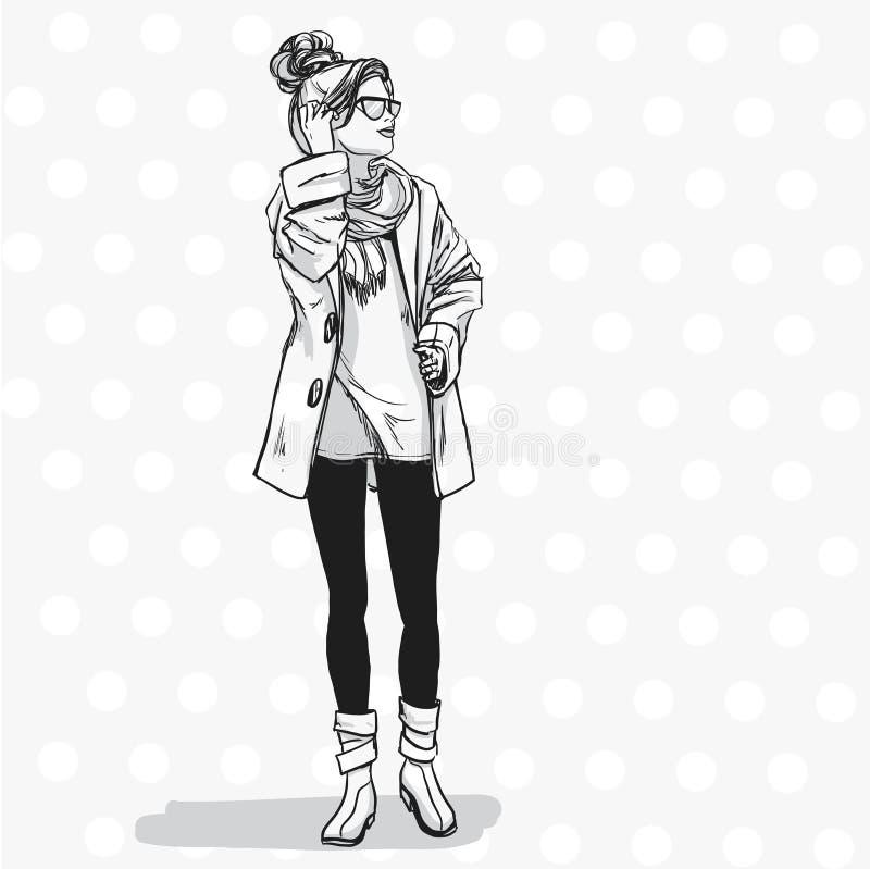 Bella donna elegante in vestiti di autunno illustrazione vettoriale