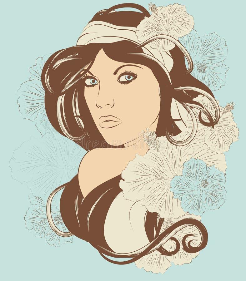 Bella donna esotica con capelli ed i fiori lunghi fotografie stock libere da diritti
