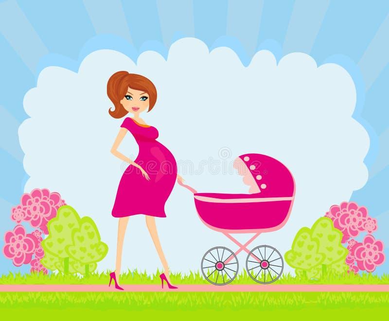 Bella donna incinta illustrazione vettoriale