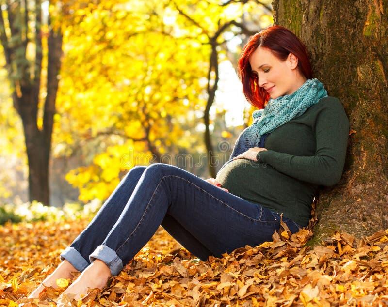 Bella donna incinta che si siede nel parco immagini stock