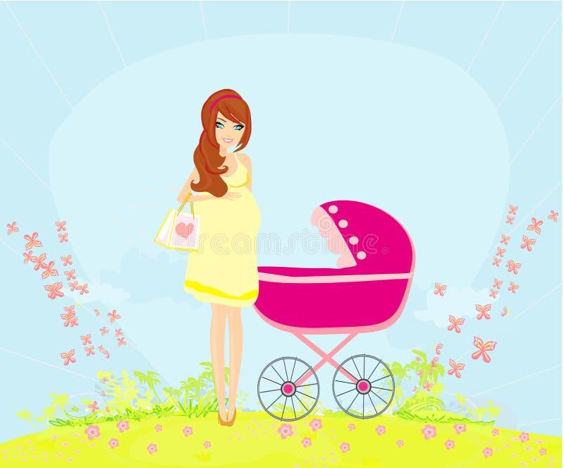 Bella donna incinta che spinge un passeggiatore royalty illustrazione gratis
