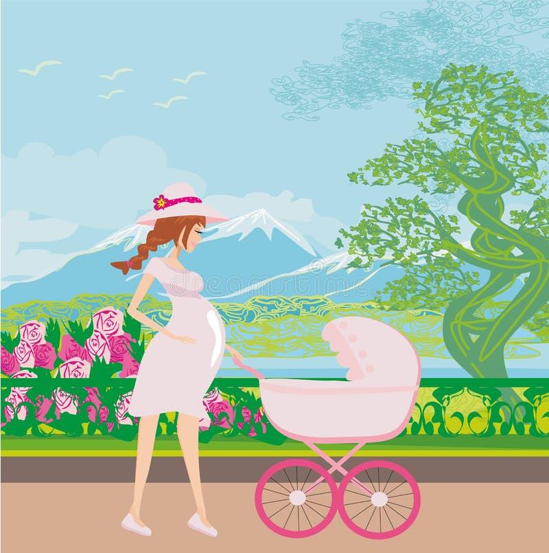 Bella donna incinta che spinge un passeggiatore con sua figlia illustrazione vettoriale