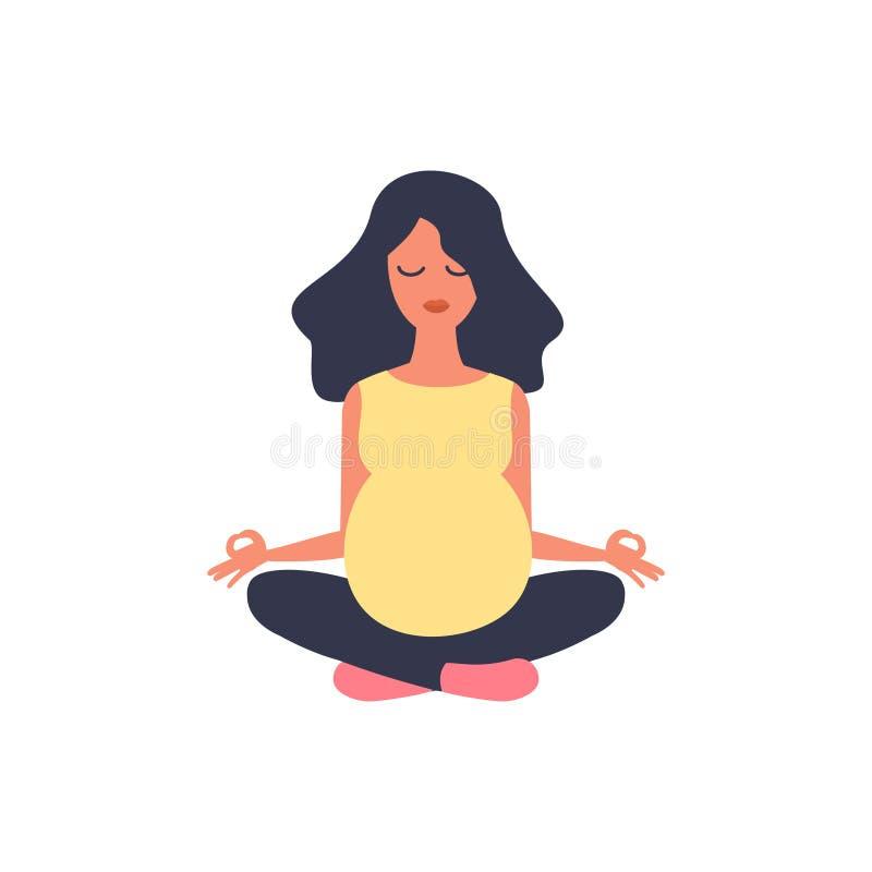 Bella donna incinta Illustrazione di yoga Esercizio di sport, forma fisica, allenamento Ritardi e braccia Sport della ragazza Mat royalty illustrazione gratis