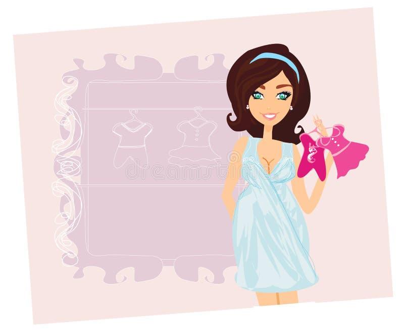 Bella donna incinta su acquisto per il suo bambino nuovo royalty illustrazione gratis