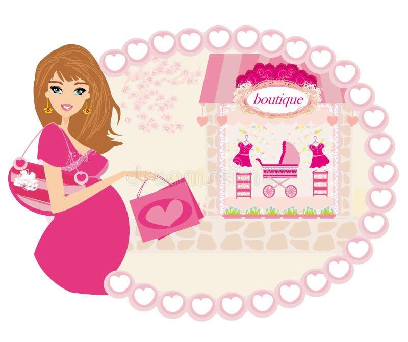 Bella donna incinta su acquisto per il suo bambino nuovo illustrazione di stock