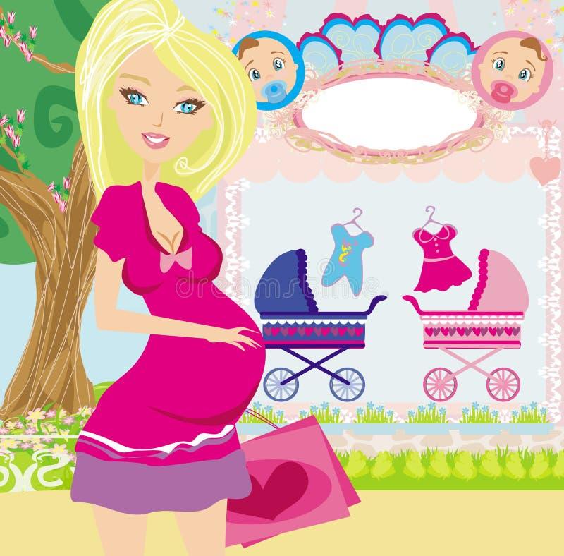 Bella donna incinta su acquisto per il suo bambino nuovo illustrazione vettoriale