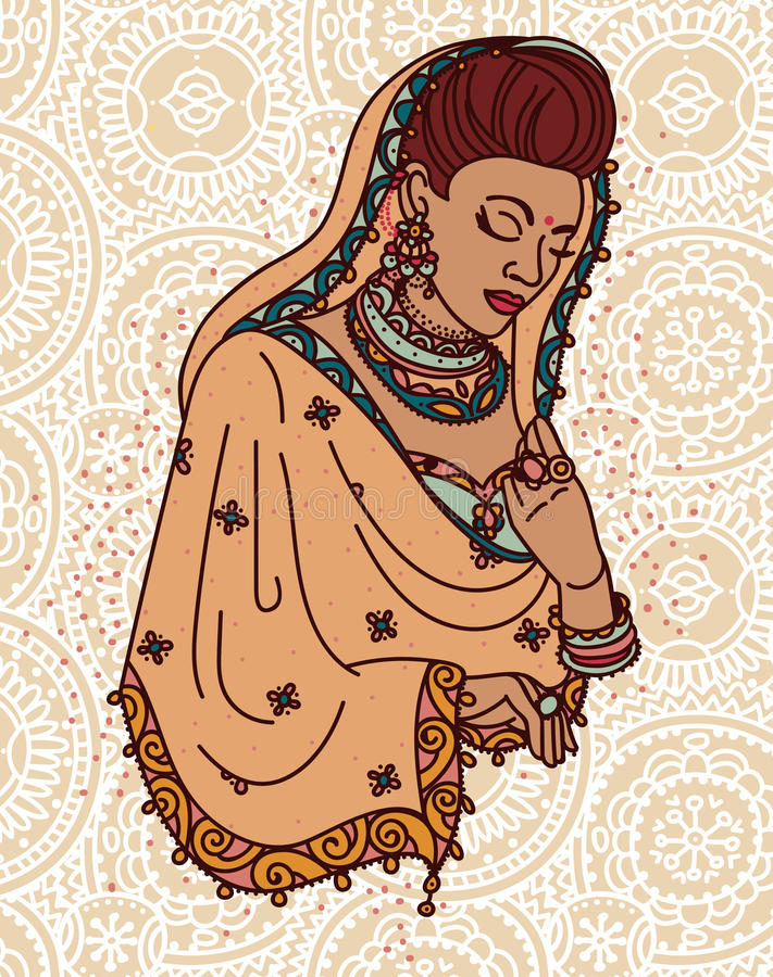 Bella donna indiana in saree tradizionale illustrazione vettoriale