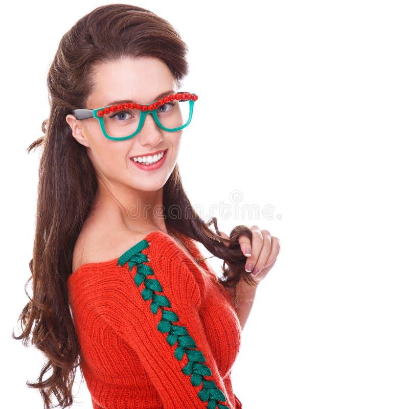 Bella donna in maglione rosso immagini stock libere da diritti