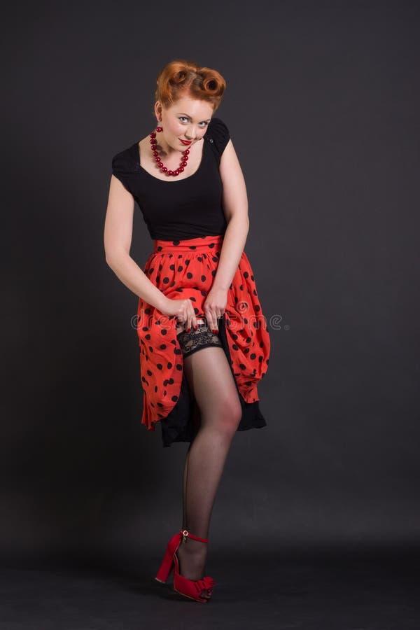 Bella donna nel retro stile fotografia stock