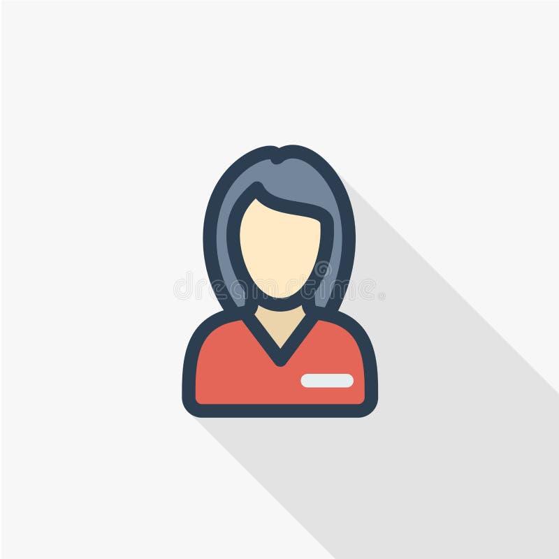 Bella donna nella linea sottile icona piana dell'avatar dell'uniforme di rosso di colore Simbolo lineare di vettore Progettazione royalty illustrazione gratis