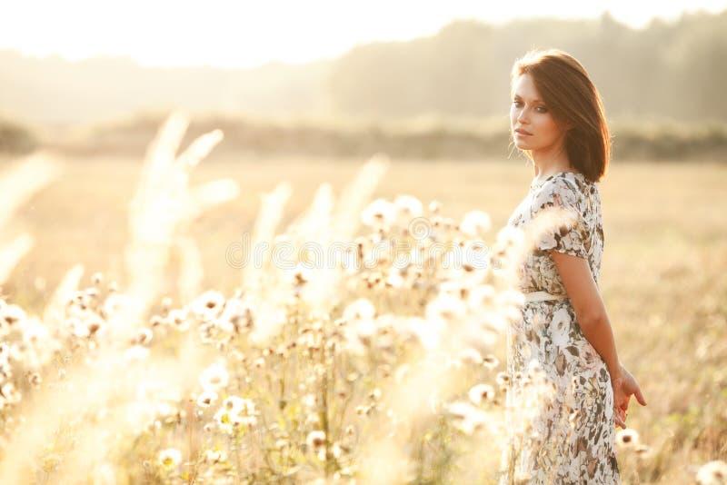 Bella donna sexy del brunette all'aperto su un tramonto immagini stock