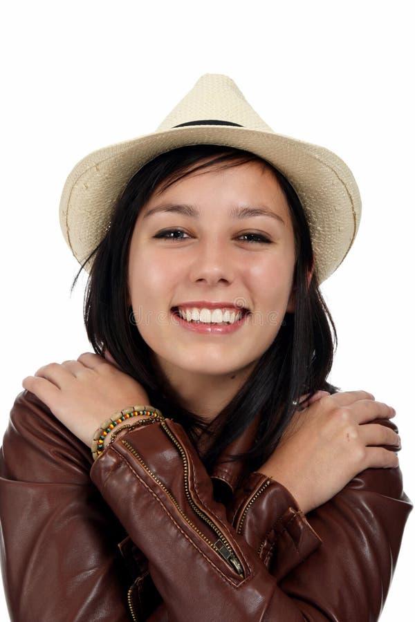 Bella donna sorridente del Brunette fotografia stock