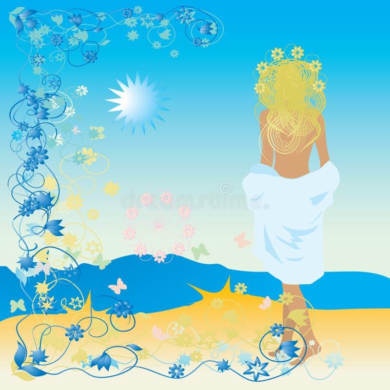 Bella donna, spiaggia, fiore illustrazione vettoriale