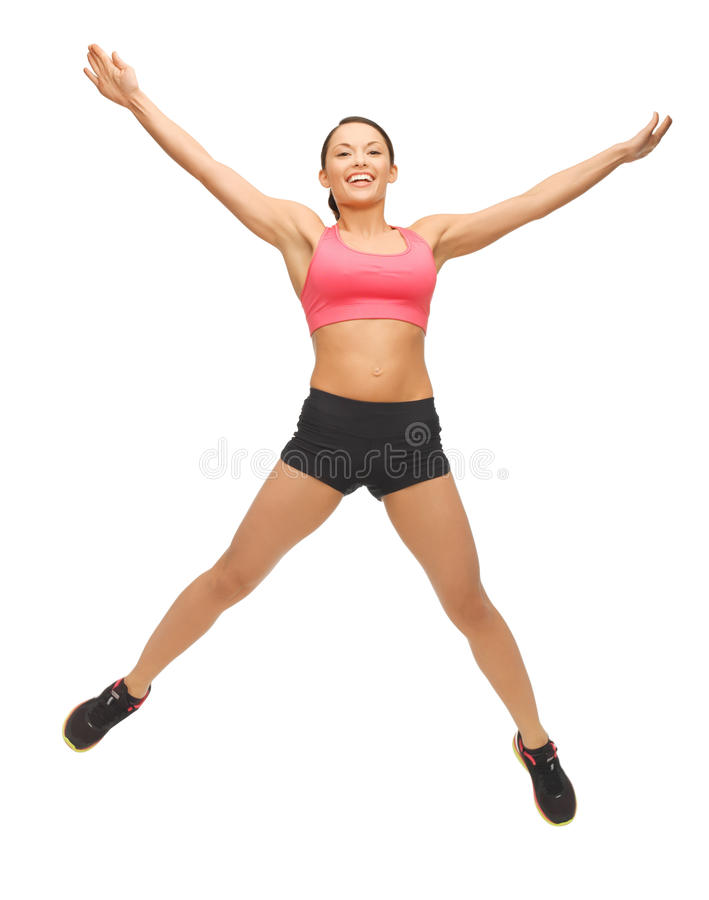 Bella donna sportiva che fa esercizio immagini stock libere da diritti
