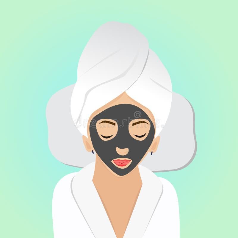 Bella donna sui trattamenti della stazione termale con la maschera nera sul fronte Vettore illustrazione di stock