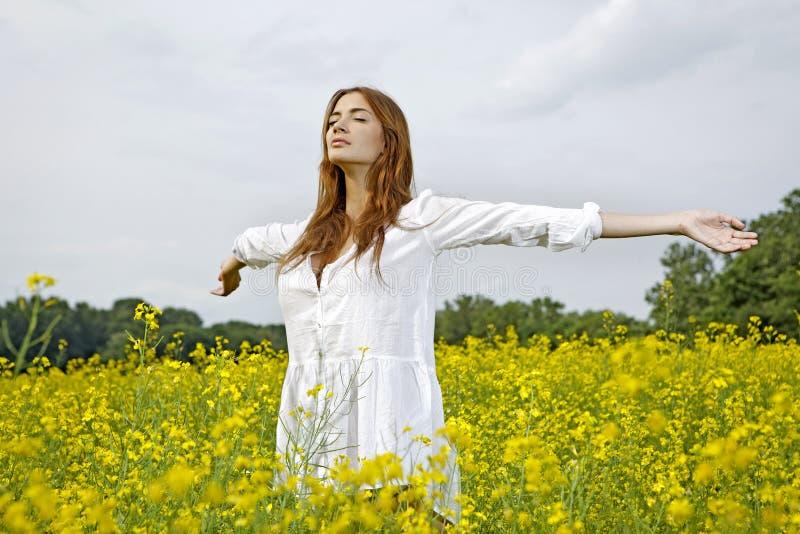 Bella donna in un giacimento di fiori giallo fotografia stock libera da diritti