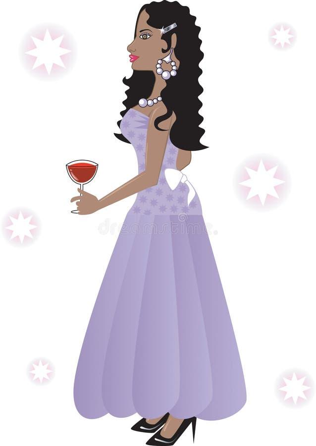 Bella donna in un vestito lungo royalty illustrazione gratis