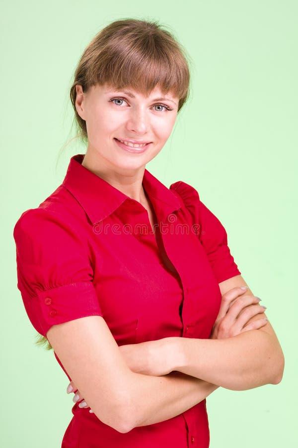 Bella e donna sexy che porta camicia rossa immagini stock libere da diritti